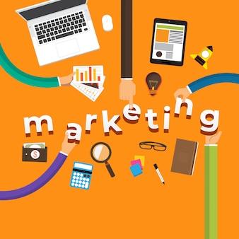 Konzept hand erstellen marketing. abbildungen.