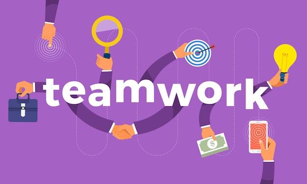 Konzept hand erstellen symbol symbol und wörter teamwork. abbildungen.