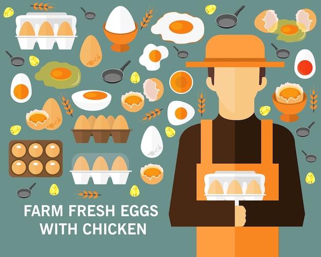 Konzept-hintergrund des bauernhofes frischer eier. flache symbole
