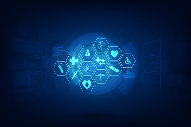 Konzept-hintergrunddesign der medizinischen innovation des gesundheitswesens