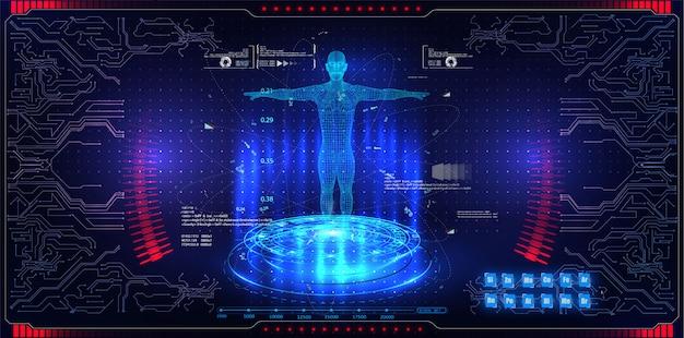 Konzept-hud-schnittstellen-hologrammelemente der abstrakten technologie ui futuristische