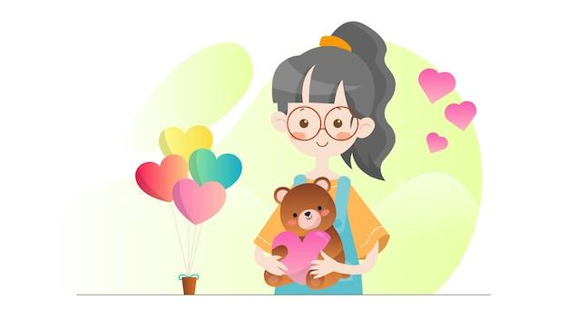 Konzept-illustrations-kind, das teddybär-valentinsgrußvorlage hält