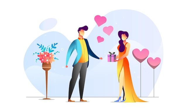 Konzept illustrierte paarjubiläumsromantik gibt gegenwärtigen kreativen hintergrund