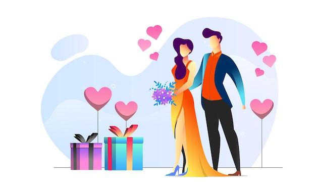 Konzept illustrierter kreativer hintergrund des romantischen geschenks des paares valentinsgruß