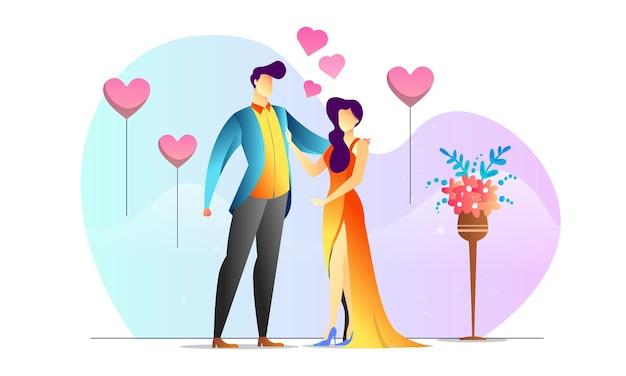 Konzept illustrierter romantischer kreativer hintergrund des paarjubiläums