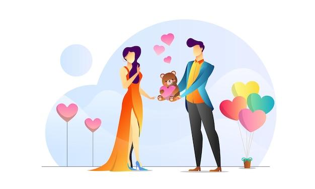 Konzept illustrierter romantischer kreativer hintergrund des paarvalentinsgrußes