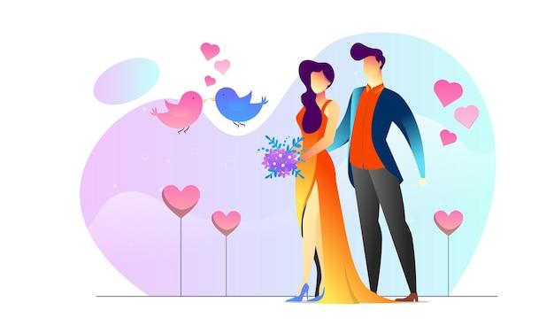 Konzept illustriertes paar in liebe romantischen lovebird kreativen hintergrund