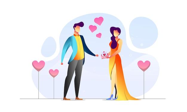 Konzept illustriertes paar jubiläum romantisch geben liebe umschlag kreativen hintergrund
