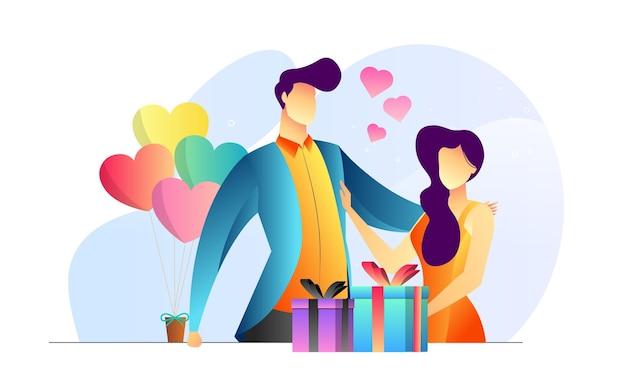 Konzept illustriertes paar valentinstag romantische geschenk kreativen hintergrund