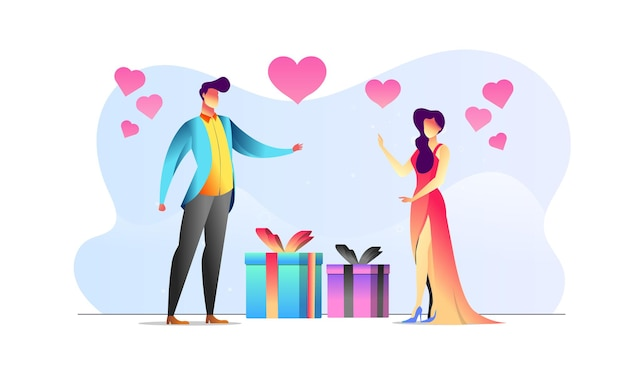 Konzept illustriertes paar valentinstag romantisches geschenk präsentieren kreativen hintergrund