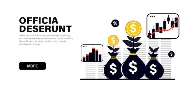 Konzept in modernen flachen schwarzen farben zum thema investitionen dividendenwachstum