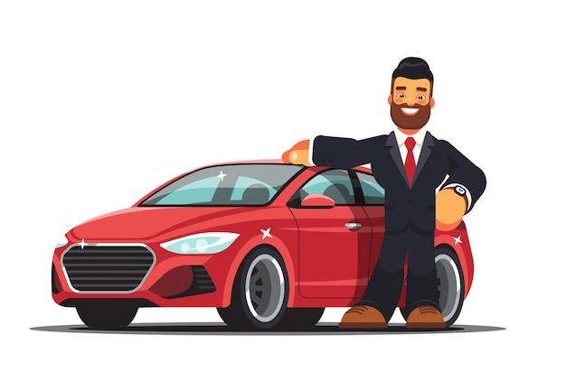 Konzept kauf oder miete eines neuen roten autos. der verkäufer oder der besitzer einer neuen maschine. moderne flache artillustration lokalisiert