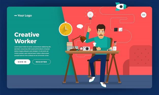 Konzept kreativer arbeiter. veranschaulichen.