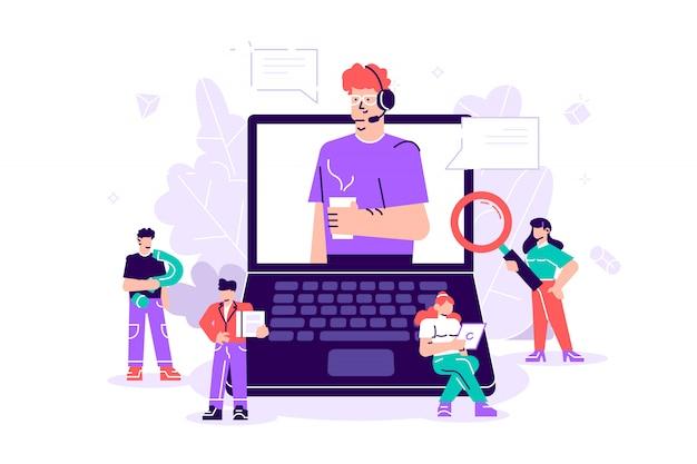 Konzept kundenservice, hotline-betreiber berät kunden