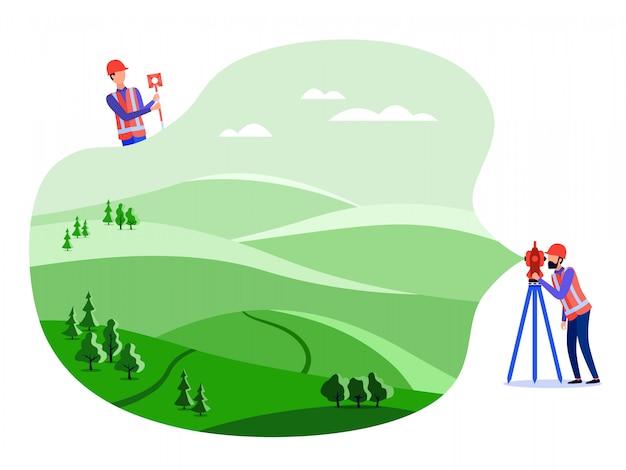Konzept landvermesser, katasteringenieure führen geodätische messungen am land mit theodolit und geodätischen geräten durch. flache illustration.