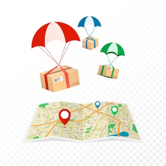 Konzept lieferservice. logistik- und lieferpakete. isoliert auf transparentem hintergrund