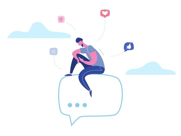 Konzept mann charakter chat am telefon in sozialen medien, netzwerkblasen. illustrationsdesign für web-banner, marketingmaterial, geschäftspräsentation, online-werbung