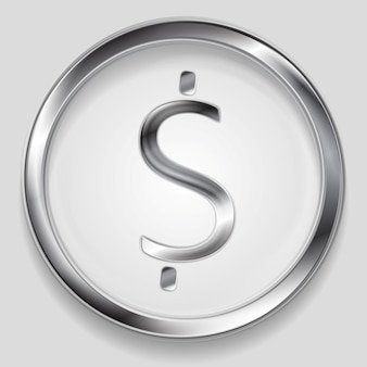 Konzept metallisches dollarsymbol-logo im kreis. vektorhintergrund