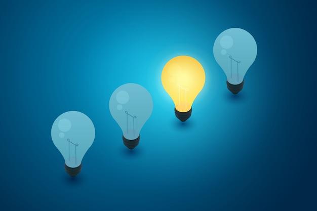 Konzept mit blauem hintergrund der glühbirnen und denken der ideenkreativität. illustration Premium Vektoren
