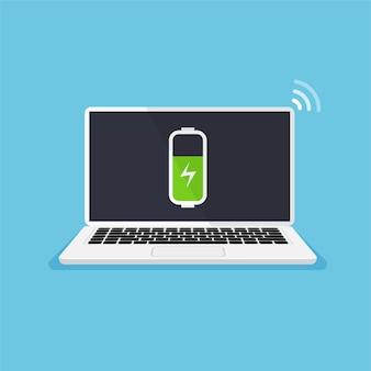 Konzept mit niedrigem batteriestand laptop muss aufgeladen werden vorderansicht des computermonitors