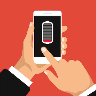Konzept mit schwacher batterie. smartphone muss aufgeladen werden. klicken sie mit der hand auf eine anzeige des telefons. flaches design. illustration.