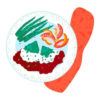 Konzept morgen restaurant frühstück, design food platte mit fleisch gemüse cremigen lebensmittel isoliert auf weiß, cartoon illustration.