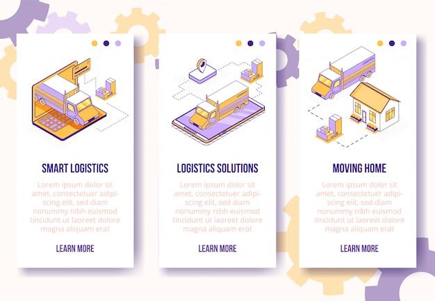 Konzept-nach hause bewegendes isometrisches design digital, vertikaler fahnen-schablonensatz des beweglichen app-schirmes des on-line-logistikservices