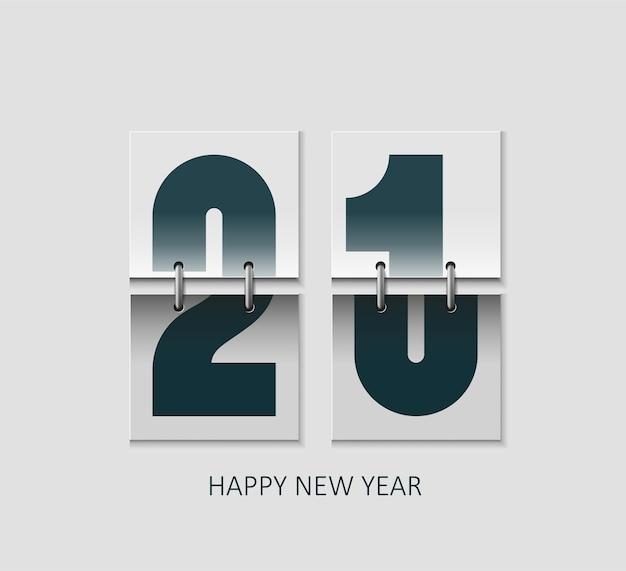 Konzept realistischer flip-kalender frohes neues jahr 2021. Premium Vektoren