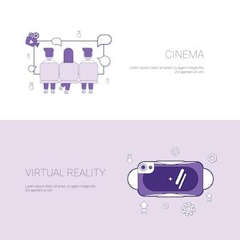 Konzept-schablonen-fahne des kino-und der virtuellen realität