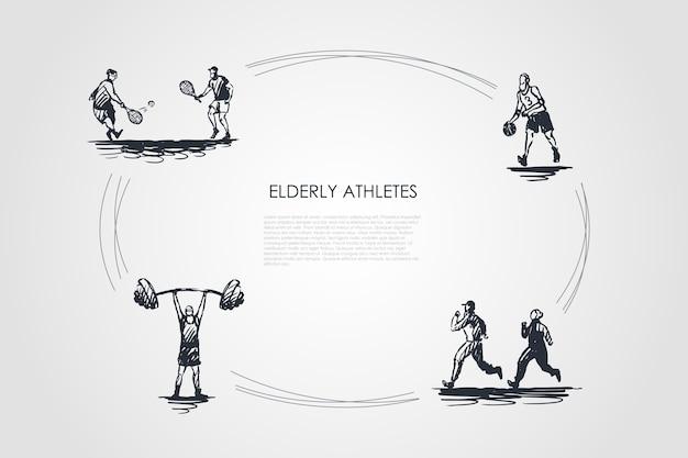 Konzept-set-illustration älterer athleten