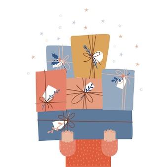 Konzept, sich auf das neue jahr vorzubereiten, weihnachtsgeschenke für weihnachtscharakter zu kaufen oder zu geben, kaum ...