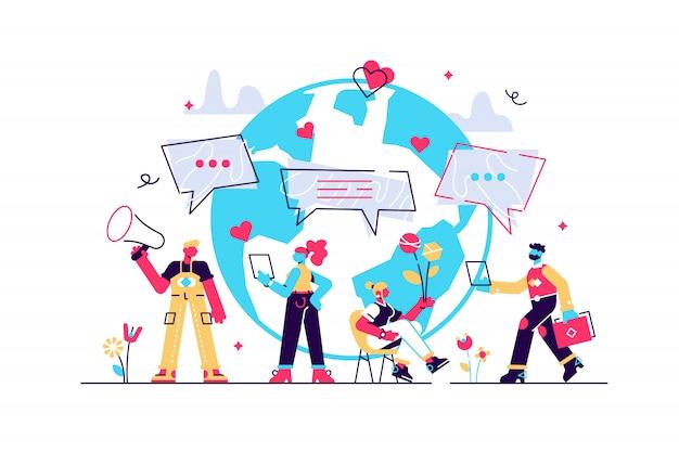 Konzept social media, chat, video, nachrichten, nachrichten, welt im web, chatten, für webseite, banner, präsentation, social media ,. illustrationskommunikation über das internet, soziale netzwerke,
