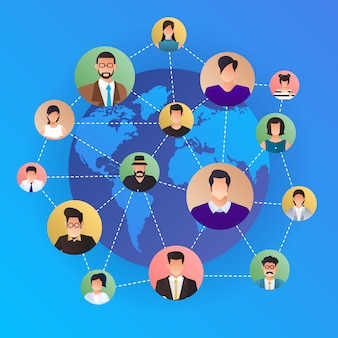 Konzept soziales netzwerk. völker, die sich auf der ganzen welt mit linien- und avatar-symbolen verbinden. veranschaulichen.