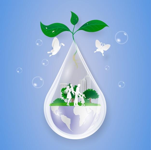 Konzept sparen wasser, natur und welt mit familie. papierschnitt kunststil.