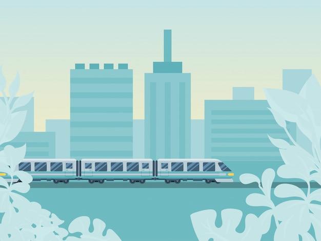 Konzept städtisches stadtgebiet, zugfahrtbrückenbahnillustration. reiseland bewegung reise europäisches nationalstaatliches verkehrssystem.