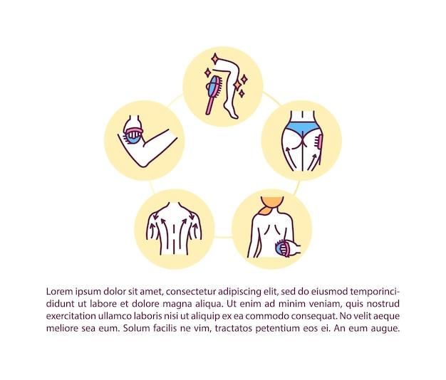 Konzept-symbol für trockenbürsteffekte mit text. anweisungen zur trockenmassage. ppt-seitenvorlage. schönheitsbehandlungen zu hause.