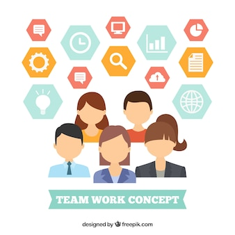 Konzept über teamarbeit mit sechseckigen ikonen
