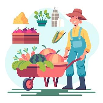 Konzept und mann des biologischen landbaus im sonnenlicht