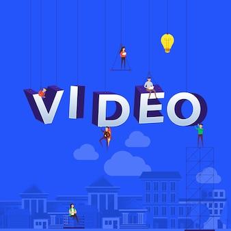Konzept vlog. team entwickelt kanalvideo online. veranschaulichen.