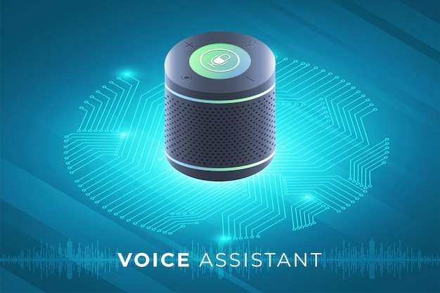 Konzept voice assistant internet der dinge. steuern sie alles mit dem gerät. moderne grafik. isometrisch veranschaulichen.