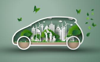 Konzept von eco Auto mit Familie und Natur in der Stadt.