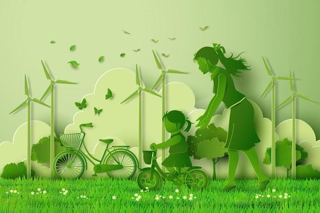 Konzept von eco mit der familie