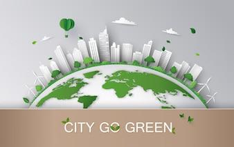 Konzept von eco mit Gebäude und Natur Papierkunstart.
