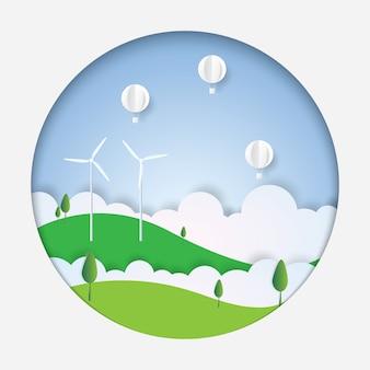 Konzept von eco, weißer heißluftballon im himmel, papierkunst, papierschnitt