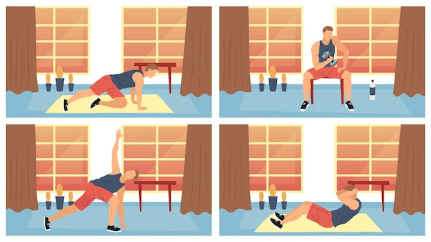 Konzept von fitness, gesundheitswesen und aktivem sport. junger mann, der gesunden lebensstil führt. männlicher charakter, der im fitnessstudio oder zu hause verschiedene kraftübungen ausübt. karikatur-flache art-vektor-illustration.