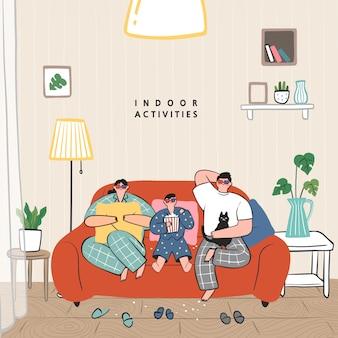 Konzept von hobby-ideen, die zu hause umgesetzt werden können. familie sieht projektor, fernsehen, filme mit popcorn