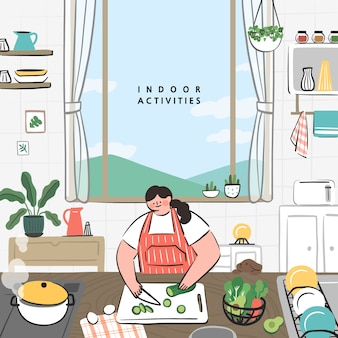 Konzept von hobby-ideen, die zu hause umgesetzt werden können. kochen in der küche.