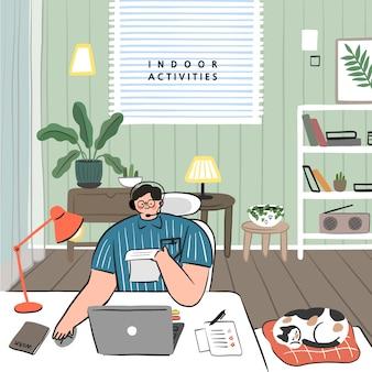 Konzept von hobby-ideen, die zu hause umgesetzt werden können. kundenbetreuungskonzept.
