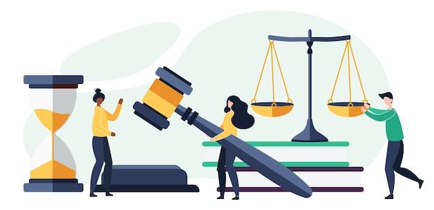 Konzept von recht und gerechtigkeit. waage der gerechtigkeit, das gebäude des richters und der hammer des richters. oberster gerichtshof. im cartoon flat style