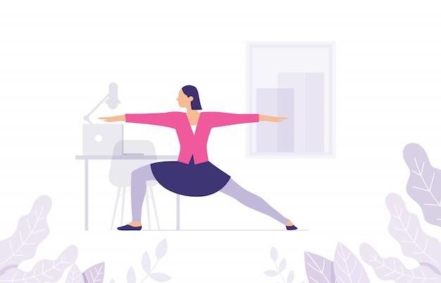 Konzept von yoga-frauen im arbeitsbereich als stretching von muskeln und körpern